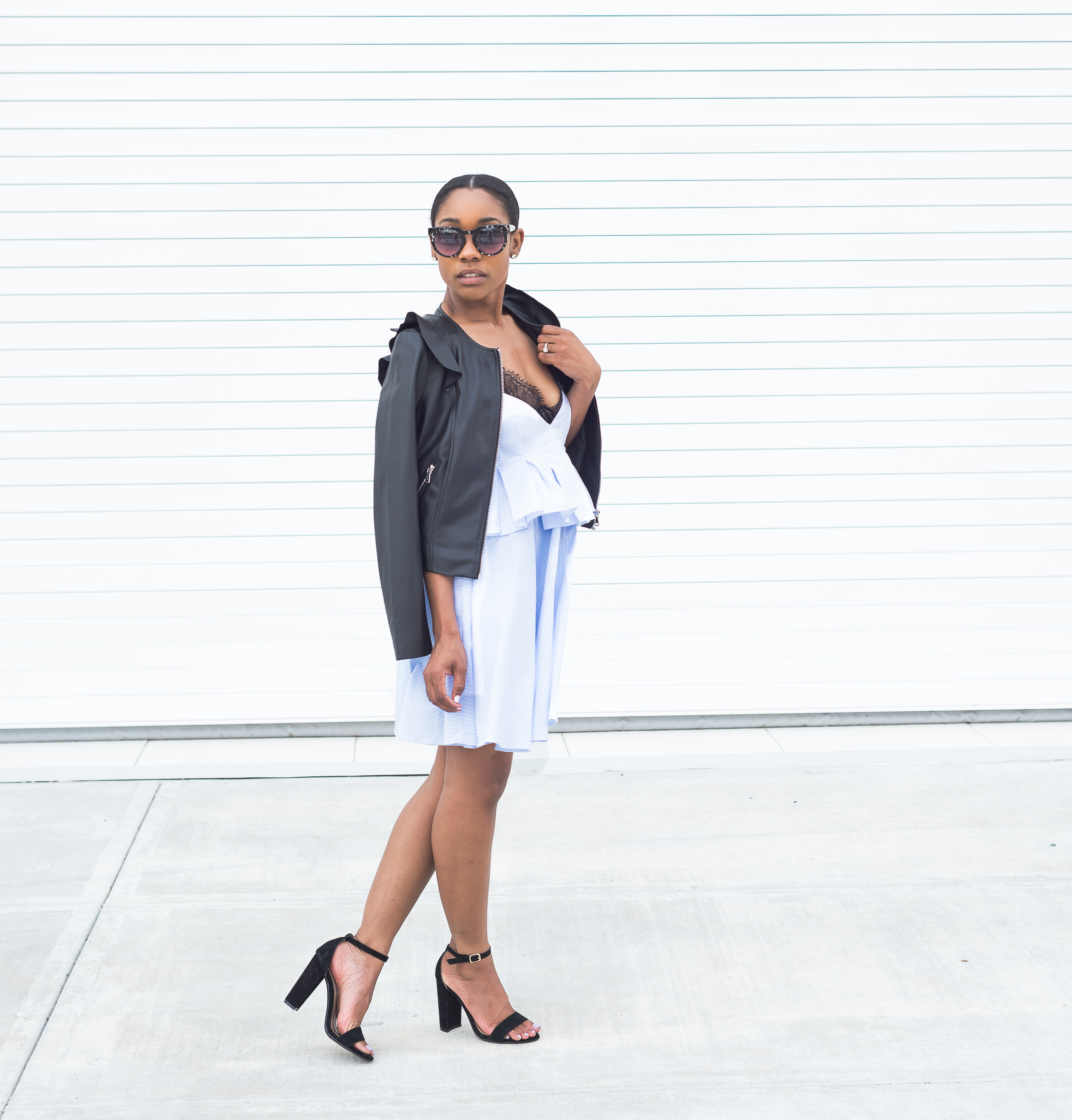 Zara Dress | Zara Jacket | Cos Bralette (40% similar style here) | Steve  Madden Shoes | Loft Sunnies